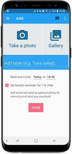 AIRE digestive tracker allows you to log foods